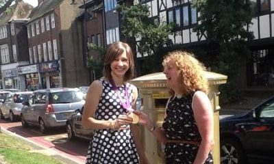 Paula with Joanna Rowsell at her gold postbox