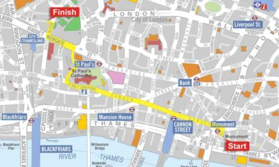 Walk route for the great fire of London